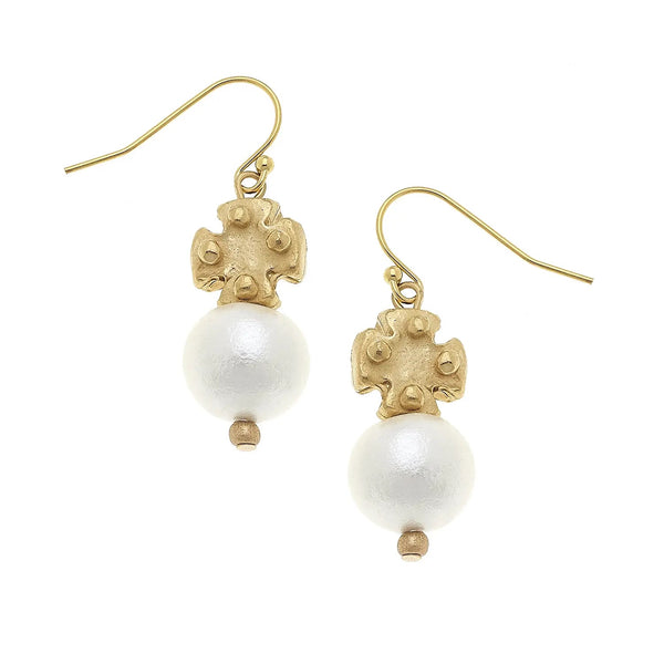 SUSAN SHAW Cotton Pearl and Mini Gold Cross Earrings