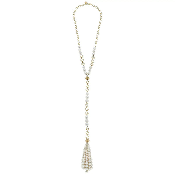 SUSAN SHAW 3101W Gold Chain with Genuine Freshwater Pearls and Pearl Tassel Necklace