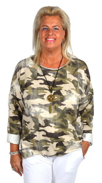 CATHERINELILLY ITO8992GRC Distressed Camo Top
