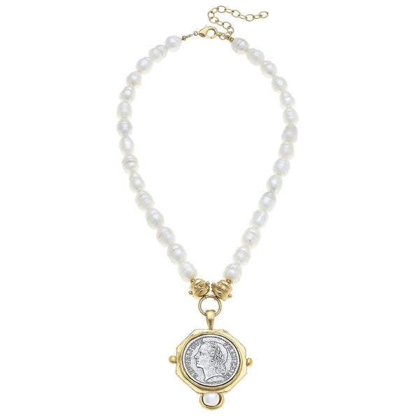 SUSAN SHAW Gold and Silver Franc with Hand Set Pearl on Genuine Freshwater Pearl Necklace