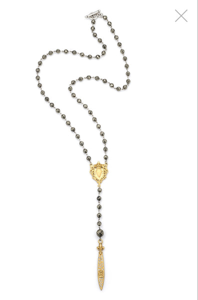 FRENCH KANDE SS1551-Z FACETED PYRITE WITH SILVER WIRE, GOLD HEART FOB AND SWAROVSKI POINTU PENDANT