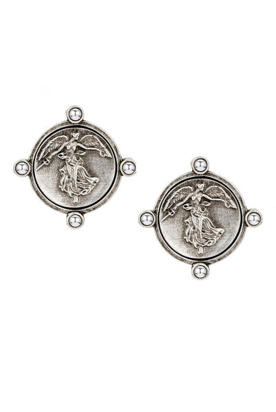 FRENCH KANDE CM606-Y Studs, OREILLE EARRINGS WITH MINI L'ANGE MEDALLION