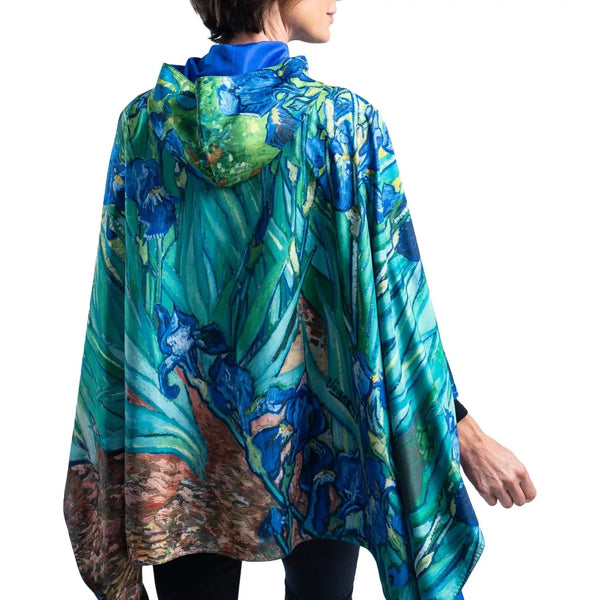 "RAINCAPER RC-M06 Cape, Fine Art Van Gogh ""Irises"" Reversible Rain Cape"