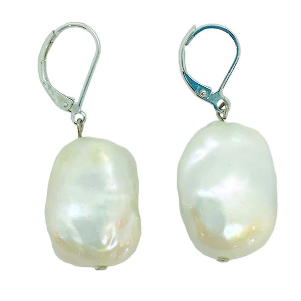 GIRL WITH PEARL 310-01-S STONE PEARL EARRING (WHITE ON SILVER)