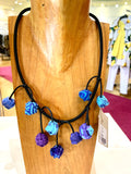 FICKLESTICKS N36-BP1 Dangle Cherry Necklace in Blues