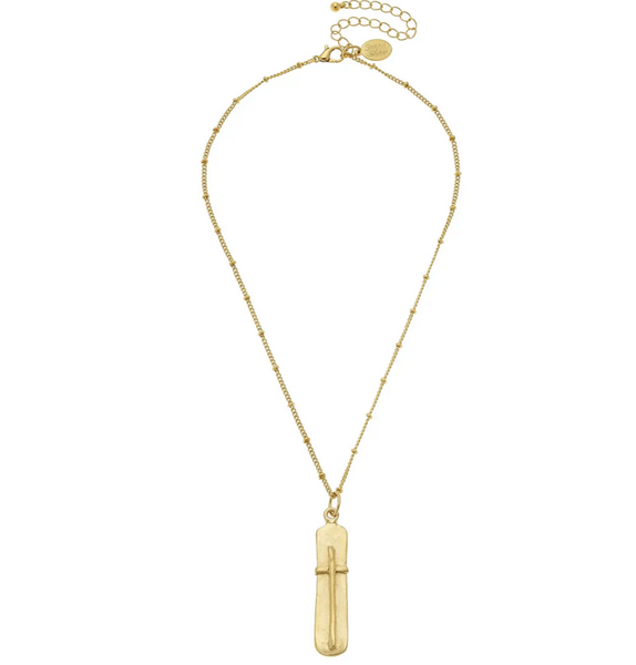 SUSAN SHAW 3915G HANDCAST GOLD BAR WITH CROSS CHAIN NECKLACE