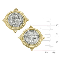 SUSAN SHAW Gold and Silver St Benedict Cross Earring
