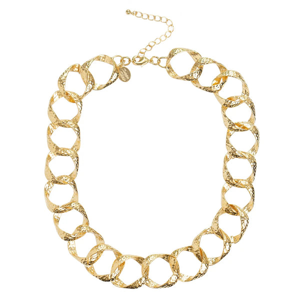 SUSAN SHAW 3805G Gold Square Chain Necklace