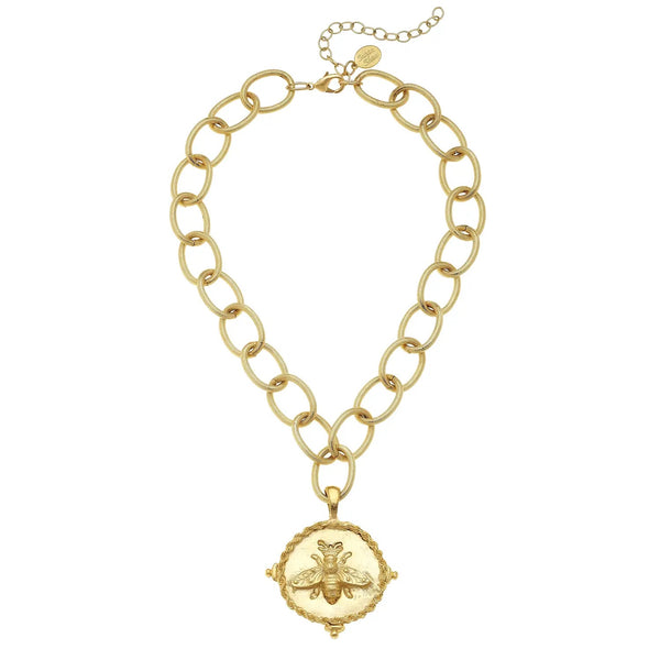 SUSAN SHAW 3003BG Gold Bee Pendant on Loop Chain Necklace