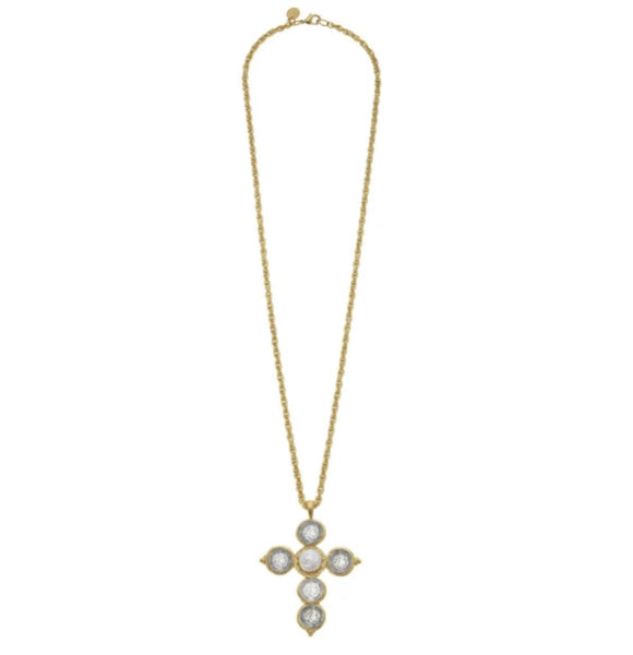 SUSAN SHAW 3070G COIN CROSS NECKLACE
