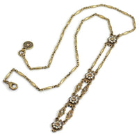 SWEET ROMANCE N1446 Art Deco Vintage Gold Opal Y Necklace