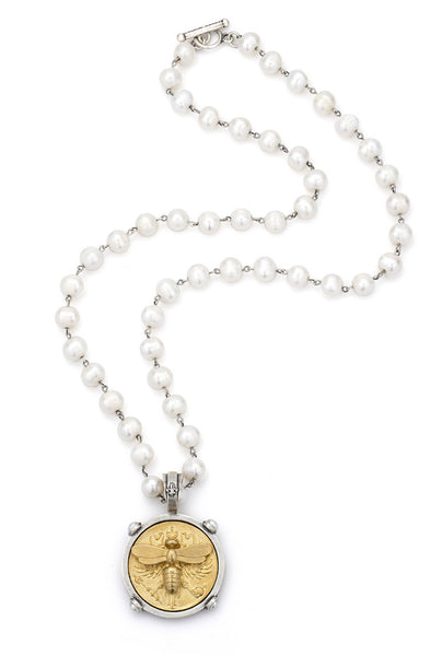 "FRENCH KANDE SS1555-Z 28""W pearl,24K PEARLS WITH SILVER WIRE AND GOLD CANARD MIEL STACK MEDALLION"