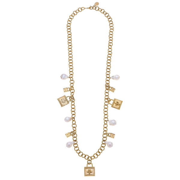 SUSAN SHAW Lock & Freshwater Pearl Charm Necklace