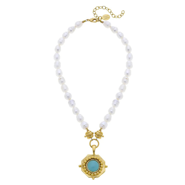 SUSAN SHAW 3951AG Gold Pendant and Aqua Quartz Freshwater Pearl Necklace