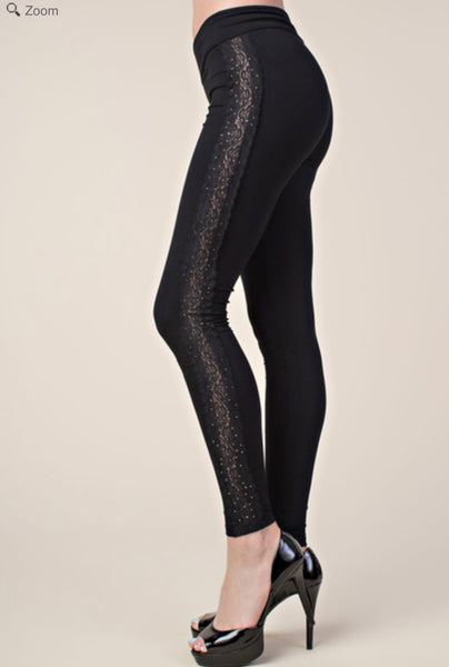 VOCAL IM1037P Lace and Bling Strip Legging