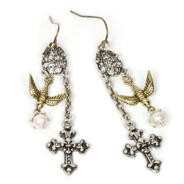 SWEET ROMANCE E1122 Cross & Holy Spirit Bird Earrings