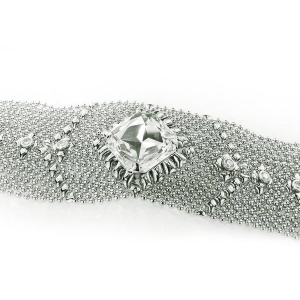 SG LIQUID METAL ICB11-N CHROME FINISH BRACELET WITH ZIRCONS AND SWAROVSKI CRYSTAL BY SERGIO GUTIERREZ