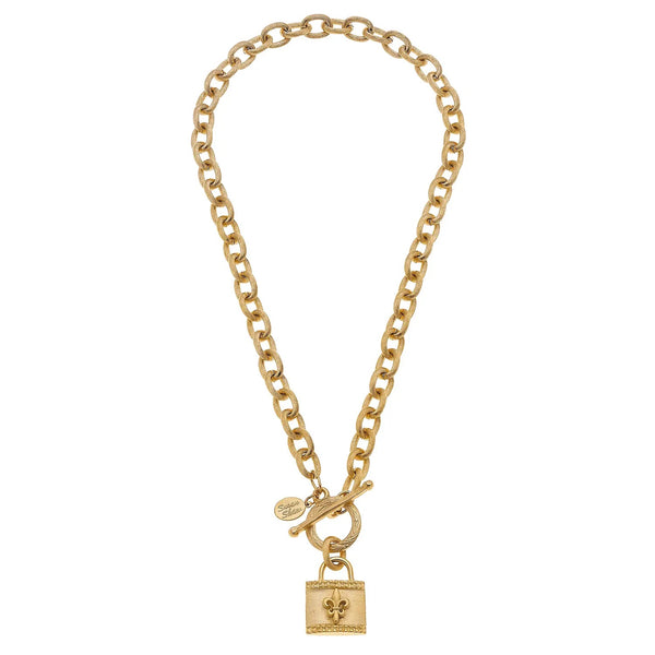 SUSAN SHAW 3770F G Gold Fleur De Lis Lock Chain Toggle Necklace