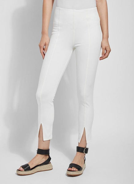 Evelyn Split Crop Denim Legging Off White