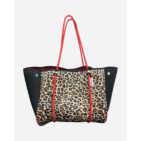 AHDORNED N101CLR Black Leopard Neoprene Tote With Perforated Sides