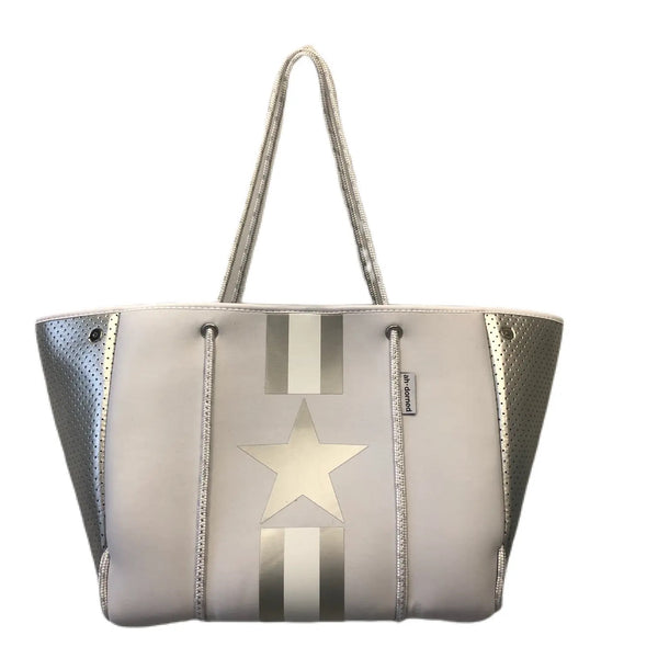AHDORNED N101WHTSSTR Neoprene Tote w/Stripes & Star