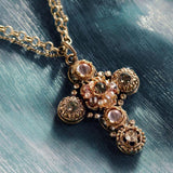 SWEET ROMANCE N1456 Etheria Bronze Cross Necklace