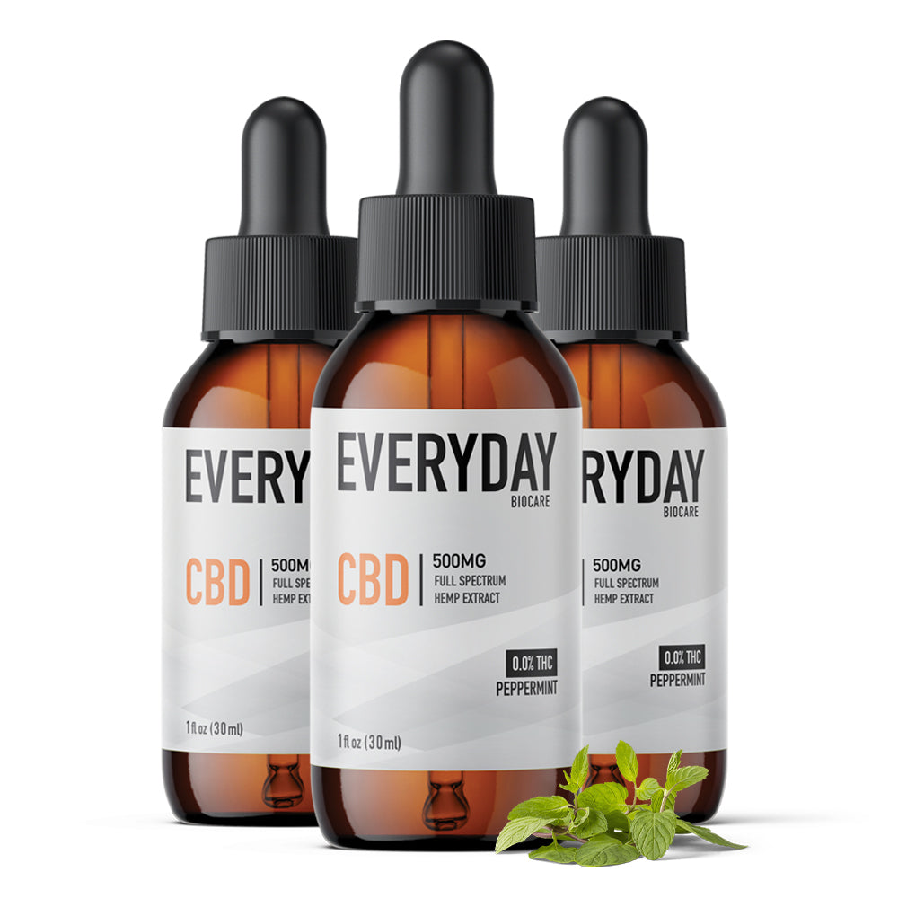 CBD Oil Tincture 500mg, 1 fl oz Peppermint (3-Pack Bundle)