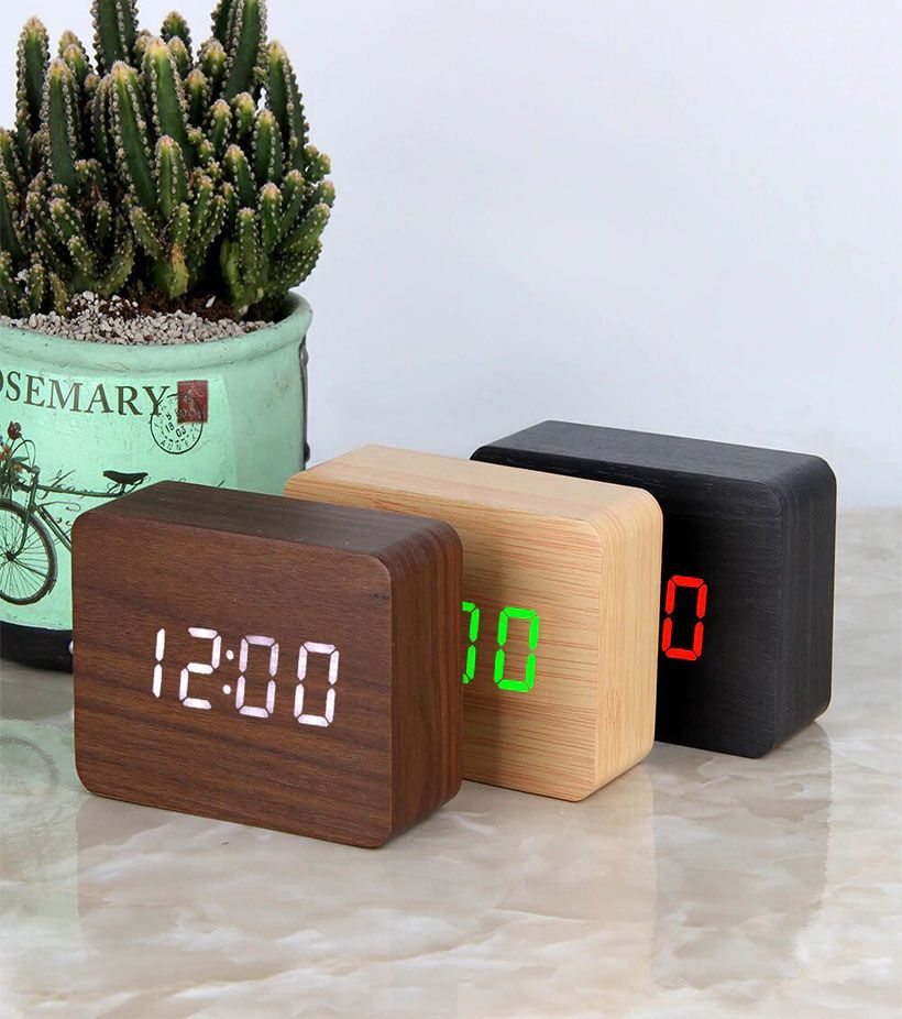 LED Wooden Voice Control Digital Alarm Clocks - Fashion, Beauty, Home & Garden & More @Nesavastore