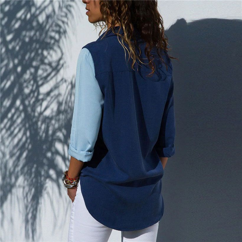 Women Long Sleeve Turn Down Collar Office Shirt - Fashion, Beauty, Home & Garden & More @Nesavastore