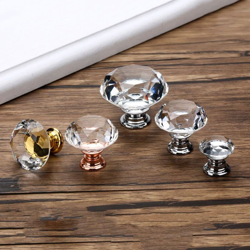 KAK 20-40mm Diamond Shape Design Crystal Glass Knobs - Fashion, Beauty, Home & Garden & More @Nesavastore