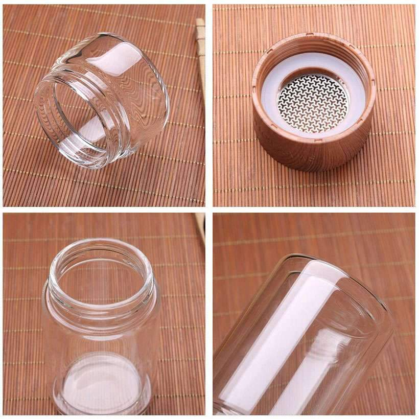 Glass Water Bottle, With Tea Infuser Filter