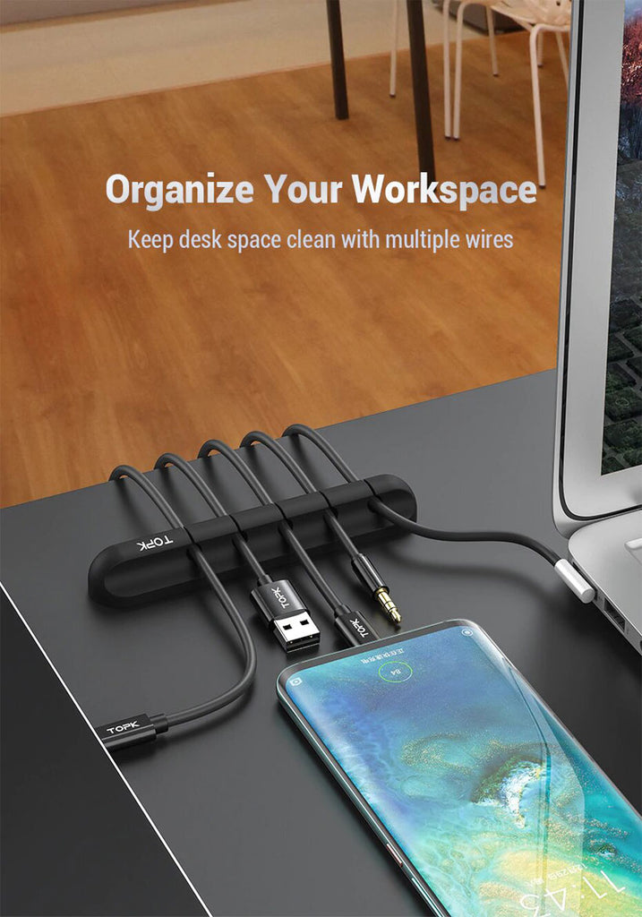 Cable Organizer Silicone USB Cable Winder Desktop - Shop Electronics, Fashion, Beauty, Home & Garden & More @Nesavastore