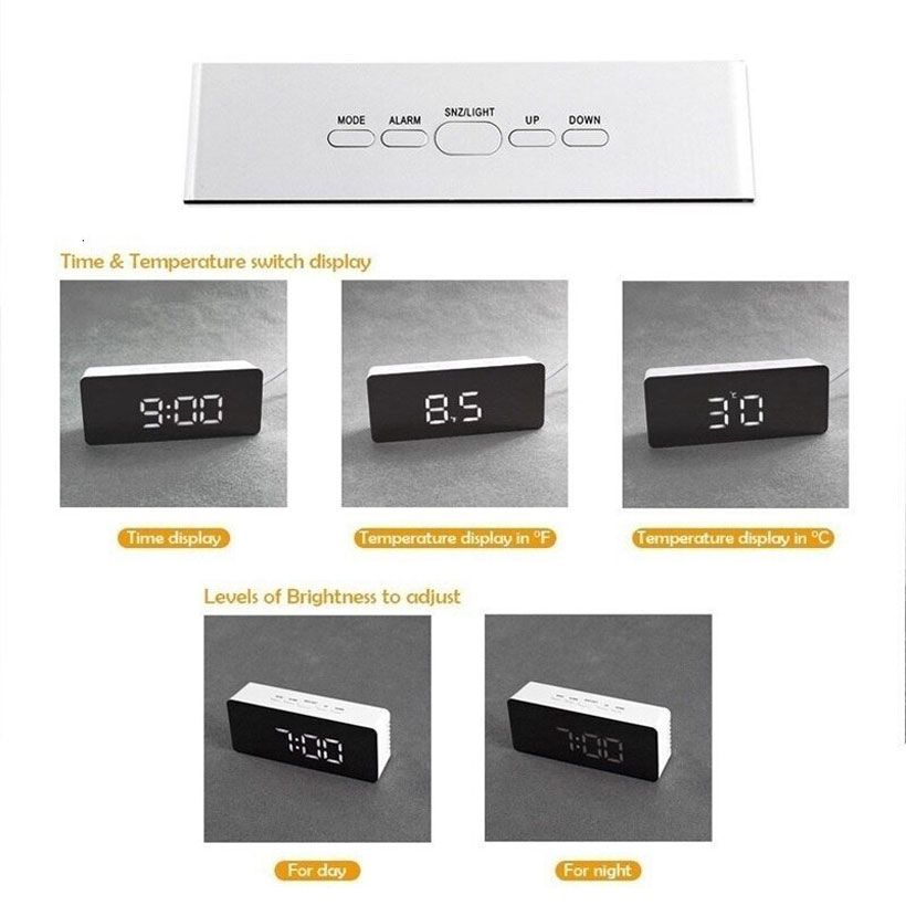 New Digital Mirror Night Lights LED Alarm Clock - Fashion, Beauty, Home & Garden & More @Nesavastore