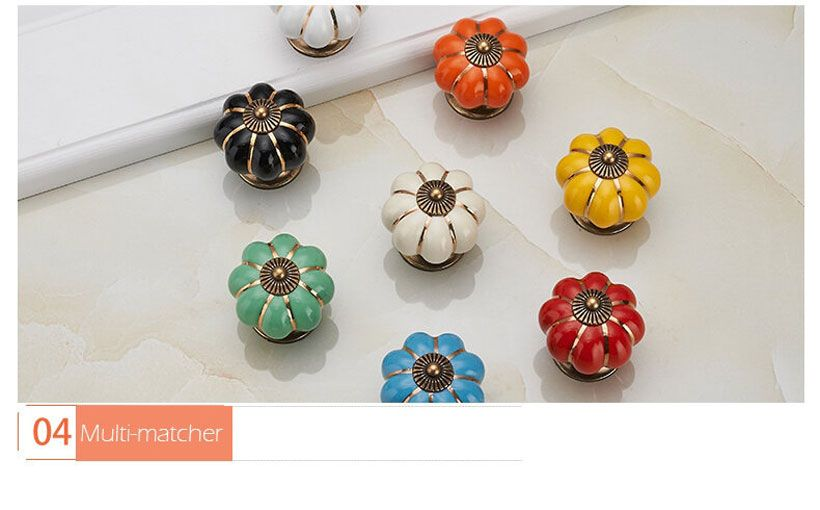KAK Pumpkin Ceramic Handles 40mm Drawer Knobs - Fashion, Beauty, Home & Garden & More @Nesavastore