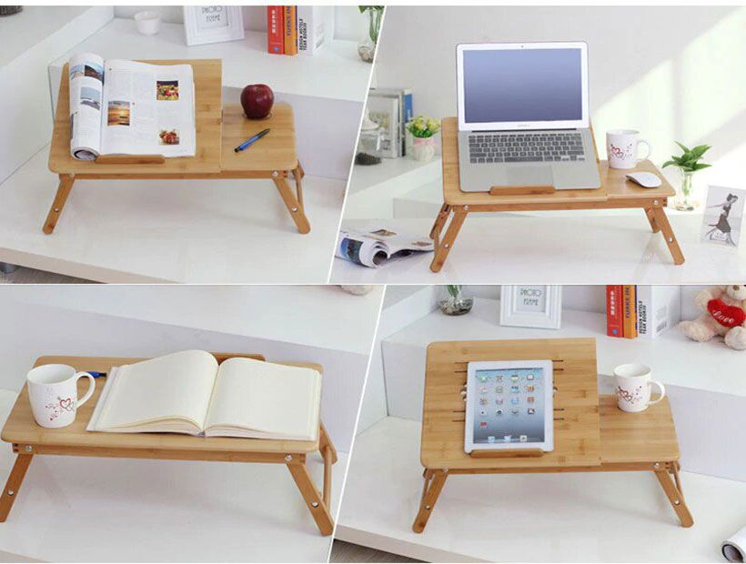 Nature Bamboo Laptop Table With Fan - Fashion, Beauty, Home & Garden & More @Nesavastore