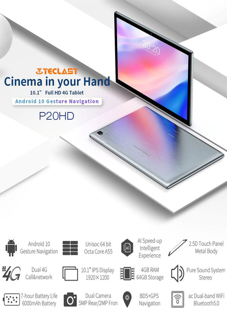 "Teclast P20HD 10.1"" Android 10 Octa Core 4GB RAM Tablet - Fashion, Beauty, Home & Garden & More @Nesavastore"
