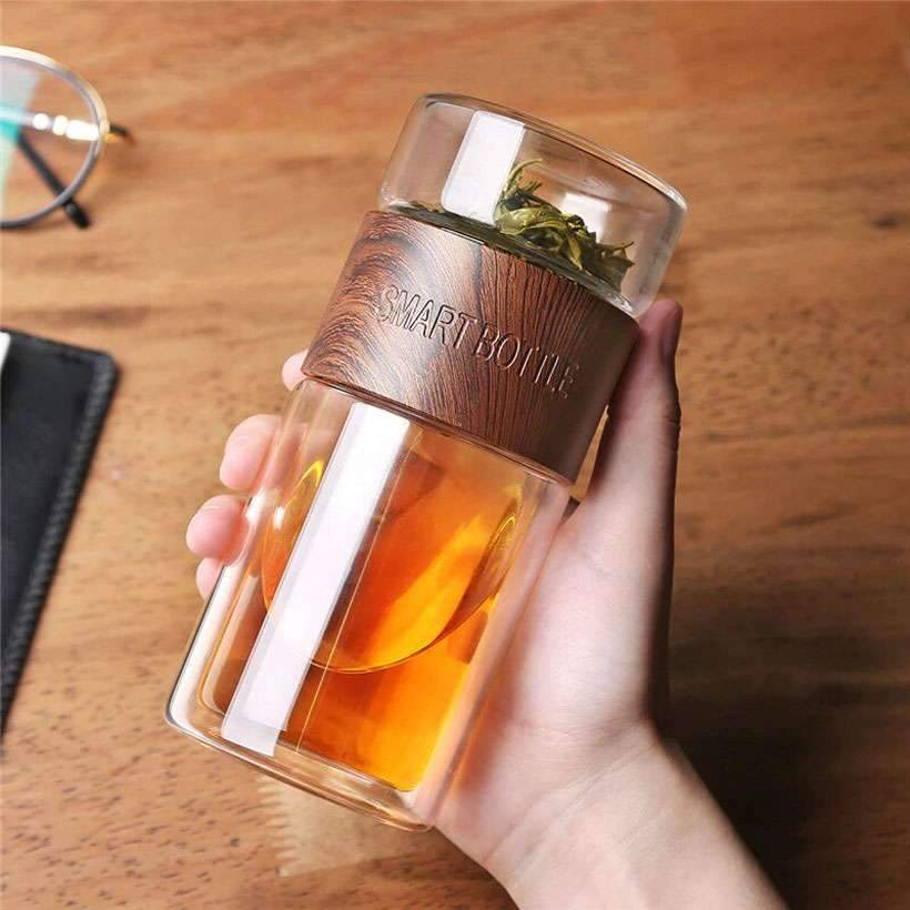 Smart Glass Water Bottle Separation With Tea Infuser Filter 200ml - Fashion, Beauty, Home & Garden & More @Nesavastore