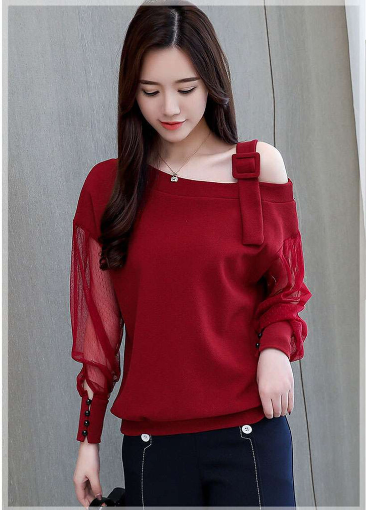 Women's Long Sleeve Sexy Off Shoulder Blouses - Shop Electronics, Fashion, Beauty, Home & Garden & More @Nesavastore