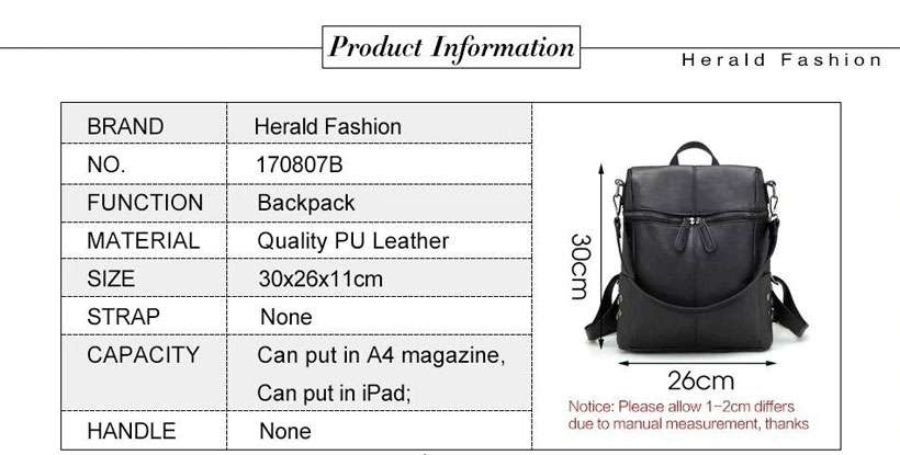 Women's Herald Fashion Leather School Backpack - Shop Electronics, Fashion, Beauty, Home & Garden & More @Nesavastore