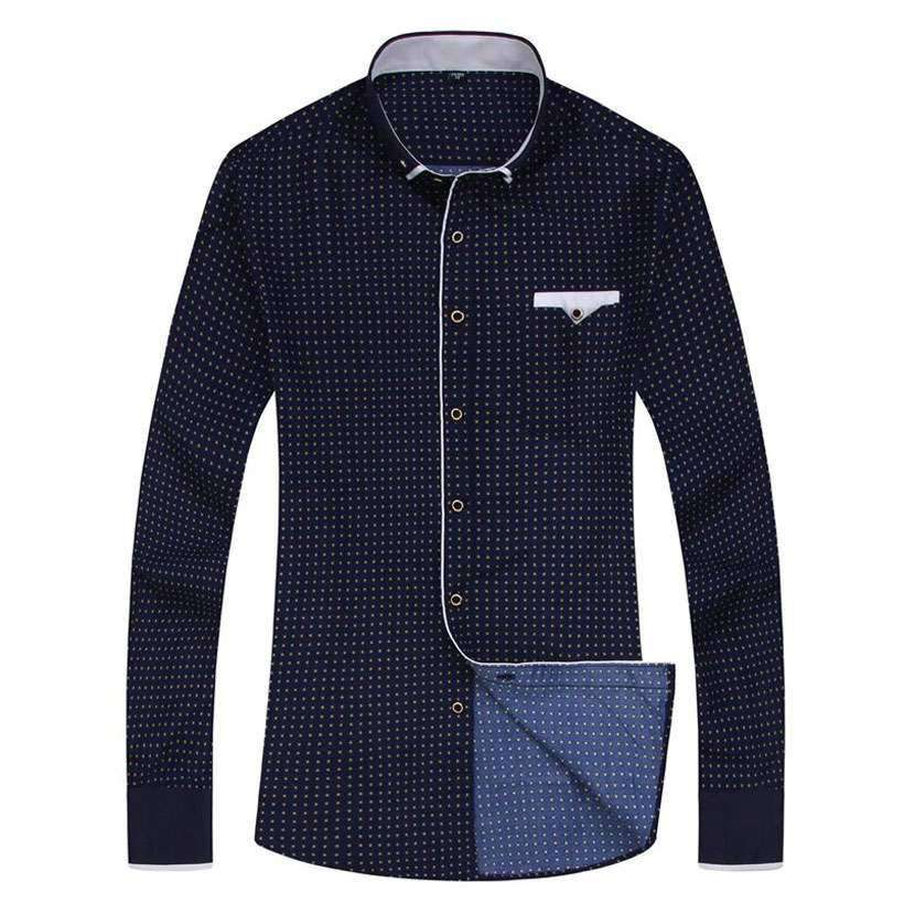 Men Casual Long-Sleeved Printed Slim Fit Shirt - Shop Electronics, Fashion, Beauty, Home & Garden & More @Nesavastore