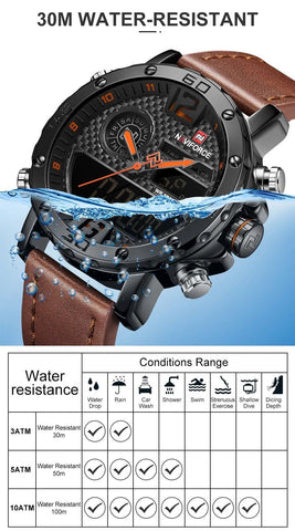 Men Leather Sports Digital Waterproof Military Watches