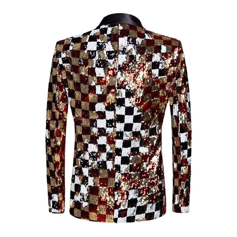 Men's Double-Sided Colorful Plaid Sequins Blazer