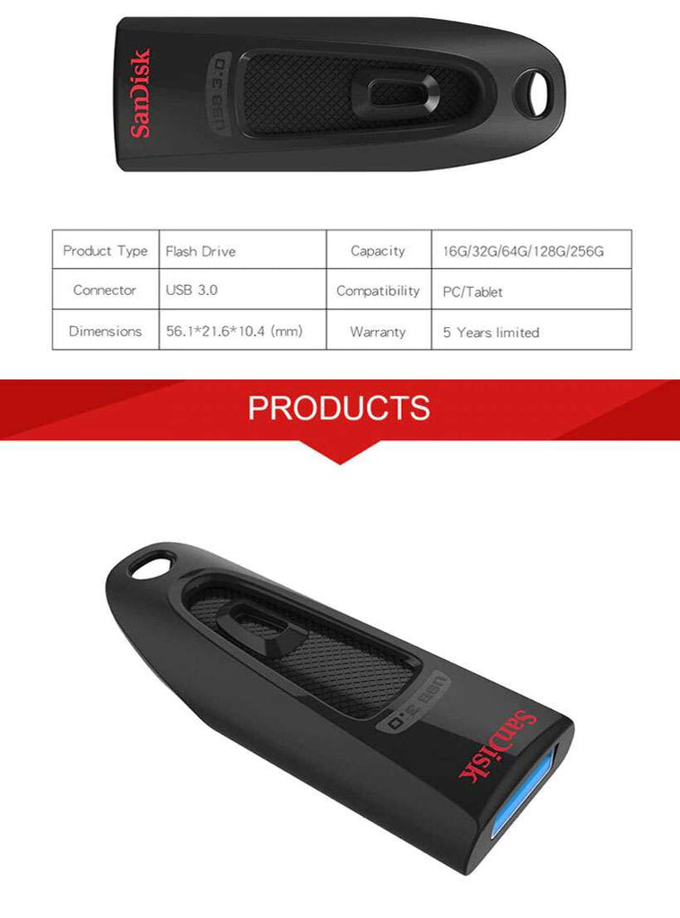 SanDisk Ultra USB 3.0 Flash Drive Speed Up to 100M/s