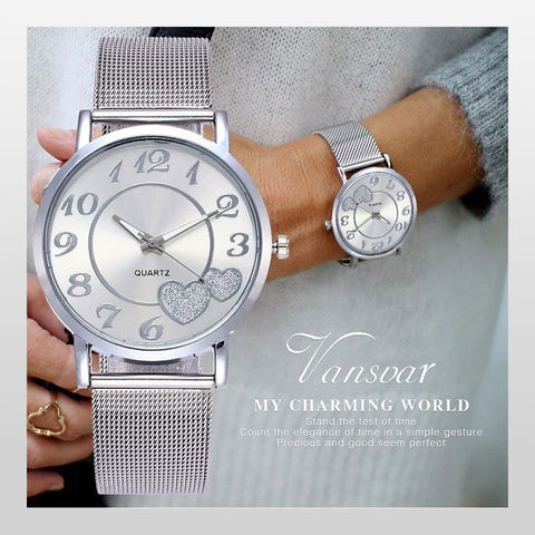 Women Mesh Love Heart Dial Steel Quartz Watches