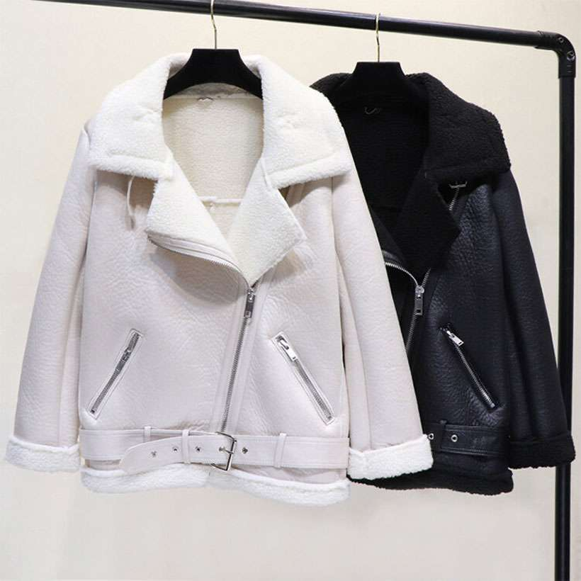 Women's Winter Faux Lamb Leather Jacket - Shop Electronics, Fashion, Beauty, Home & Garden & More @Nesavastore