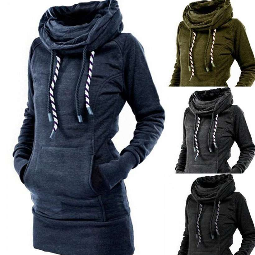 Women's Turtleneck Pullover Robe Plain Thick Hoodies - Shop Electronics, Fashion, Beauty, Home & Garden & More @Nesavastore