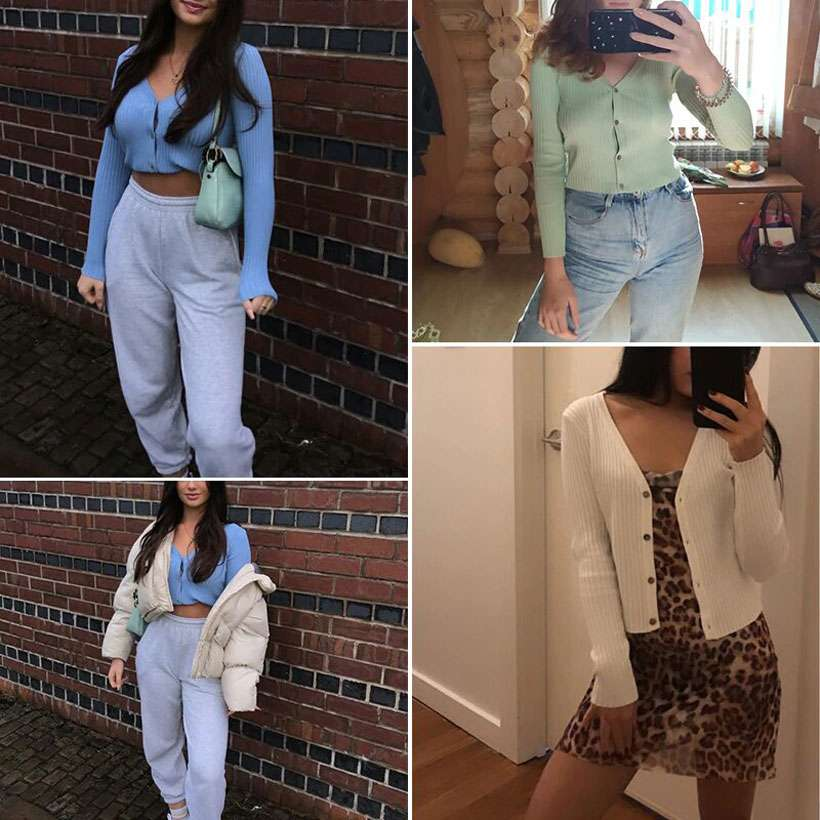 Women Sexy Buttons Knitted Cardigan Sweaters - Shop Electronics, Fashion, Beauty, Home & Garden & More @Nesavastore