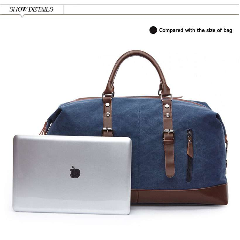 Large Capacity Canvas Leather Vintage Travel Duffle Bag - Shop Electronics, Fashion, Beauty, Home & Garden & More @Nesavastore