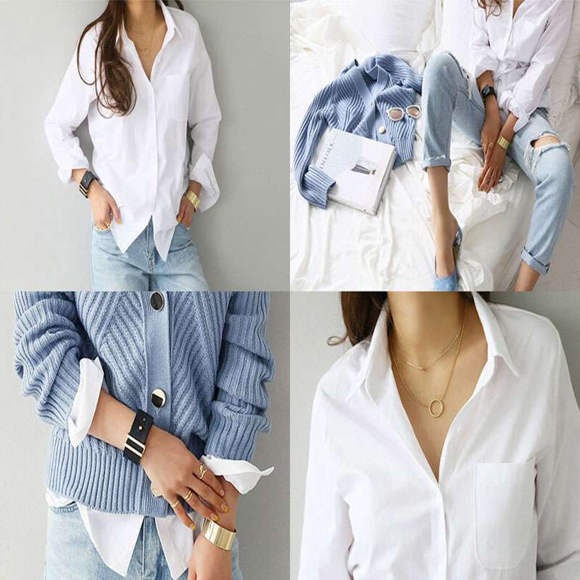 Women Long Sleeve One Pocket Shirt