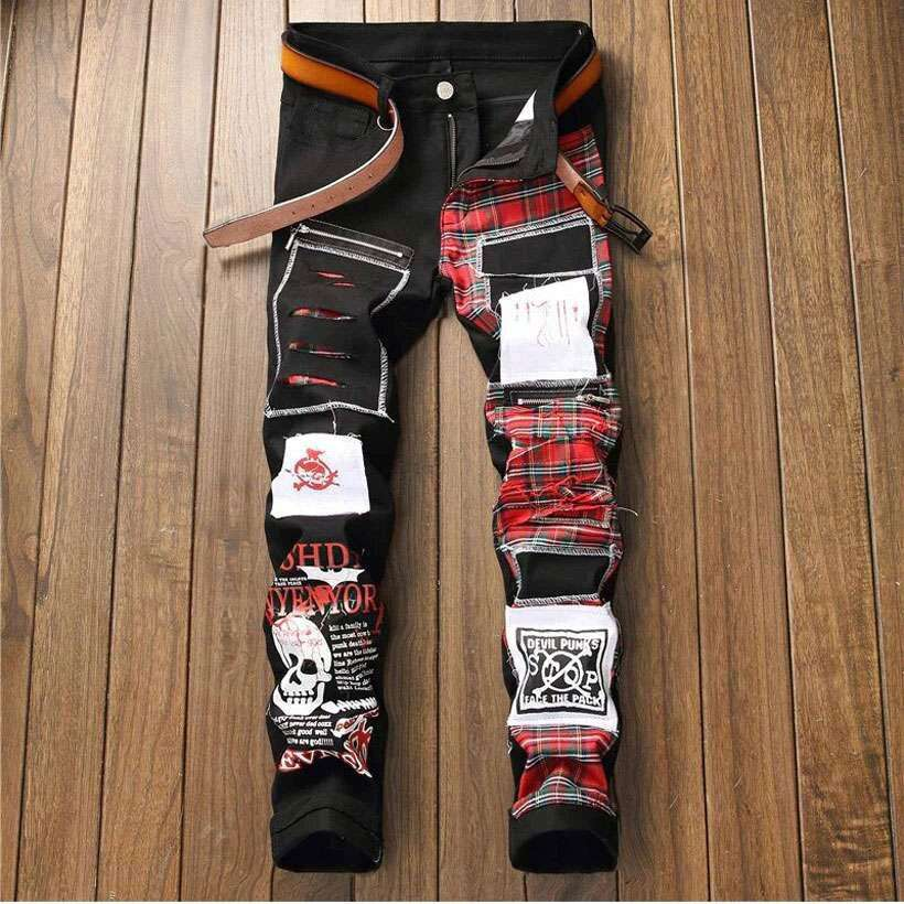 Men's Skull Printed Scottish Plaid Pants - Shop Electronics, Fashion, Beauty, Home & Garden & More @Nesavastore